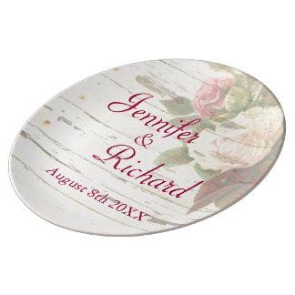 Vintage roses shabby chic custom wedding day porcelain plate