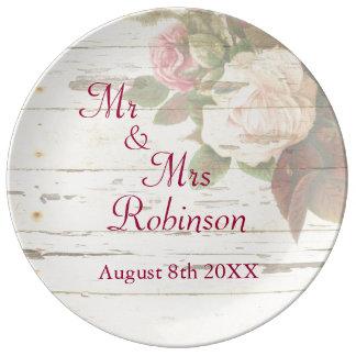 Vintage roses shabby chic custom wedding day porcelain plates