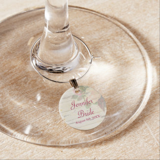 Vintage roses shabby chic custom wedding day wine charm