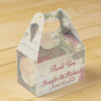Vintage roses shabby chic custom wedding party favour boxes