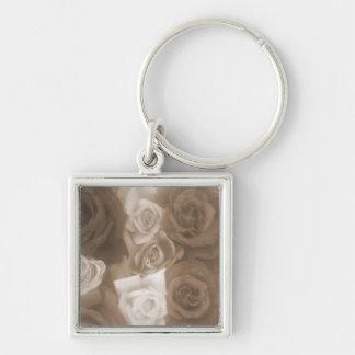 Vintage Roses Soft Sepia Premium Gift Keychain