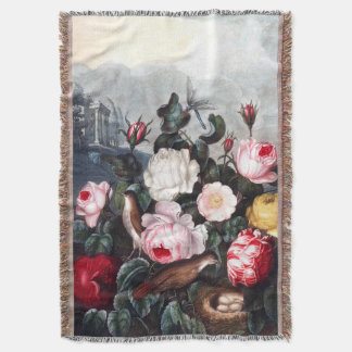 Vintage Roses Throw Blanket
