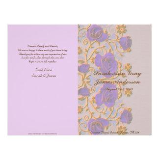 Vintage roses wedding program 21.5 cm x 28 cm flyer