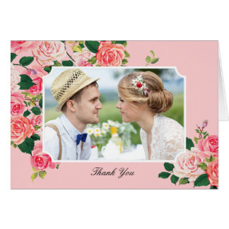 Vintage Roses Wedding Thank You Card