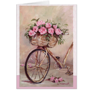 Vintage Rosy Bike Card