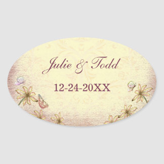 Vintage Rosy Brown Floral Wedding  Save The Date Stickers