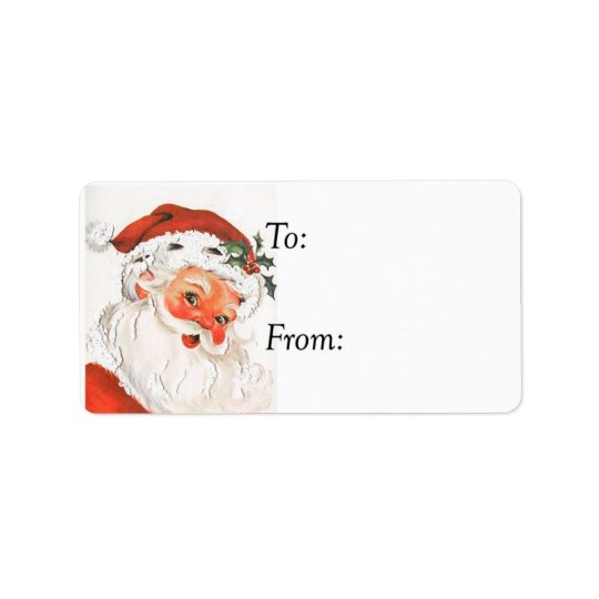 Vintage Rosy Cheeked Jolly Santa Gift Tag Address Label