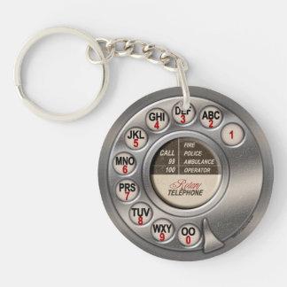 Vintage Rotary Phone Double-Sided Round Acrylic Key Ring