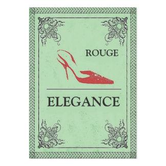 VINTAGE ROUGE ELEGANCE RED HIGH HEEL FASHION BUSINESS CARD TEMPLATES
