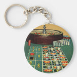 Vintage Roulette Table Casino Gambling Chips Game Keychain