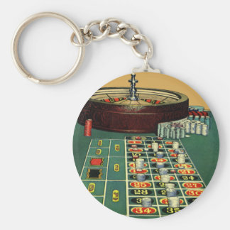 Vintage Roulette Table Casino Game, Gambling Chips Key Ring