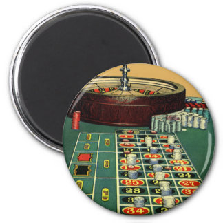 Vintage Roulette Table Casino Game, Gambling Chips Magnet