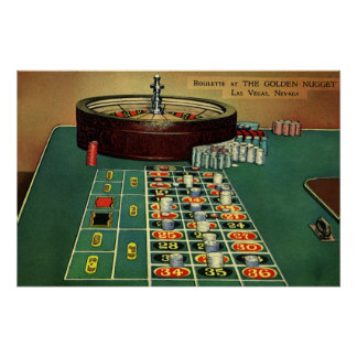 Vintage Roulette Table Casino Game, Gambling Chips Poster