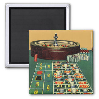 Vintage Roulette Table Casino Game, Gambling Chips Square Magnet