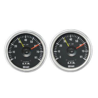 Vintage Round Analog Auto Tachometer Cufflinks