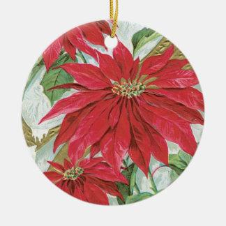 Vintage Round  Poinsettia Christmas Ornament