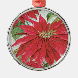 Vintage Round  Poinsettia Silver-Colored Round Decoration