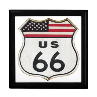 Vintage Route 66 Large Square Gift Box