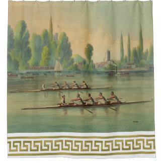 Vintage Rowers Crew Race Boat Race Greek Key Bordr Shower Curtain