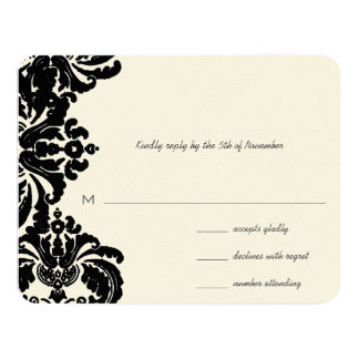 Vintage Royal Black Damask Wedding RSVP 11 Cm X 14 Cm Invitation Card