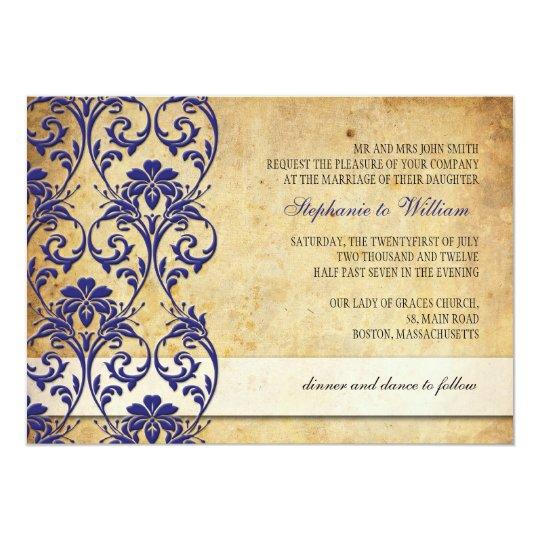 Vintage Royal Blue Floral Swirl Wedding Invitation