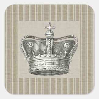 Vintage Royal Crown Decorative Beige Stripes Square Sticker