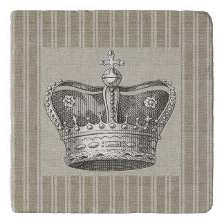 Vintage Royal Crown Decorative Beige Stripes Trivet