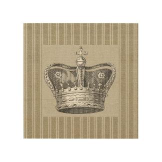 Vintage Royal Crown Decorative Beige Stripes Wood Prints