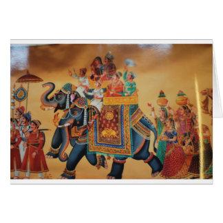 VINTAGE ROYAL INDIAN WEDDING PROCESSION  ELEPHANT GREETING CARD