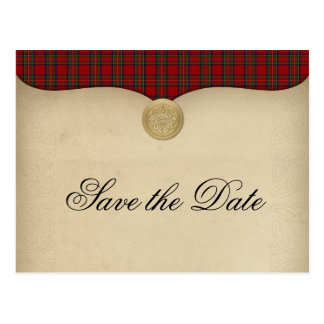 Vintage Royal Stewart Tartan Plaid Save the Date Postcard