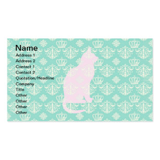 Vintage Royal Teal White Damask Cat Design Pattern Business Cards