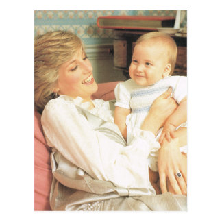 Vintage Royalty, Diana and Prince William Postcard