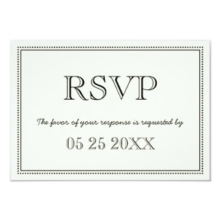 Vintage RSVP Black and White Wedding Card 9 Cm X 13 Cm Invitation Card