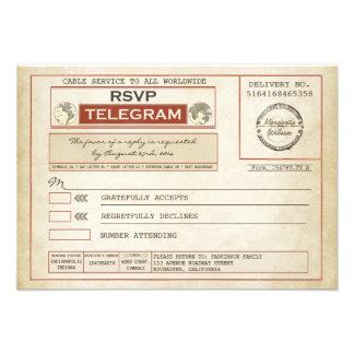 vintage RSVP WEDDING telegrams Announcement