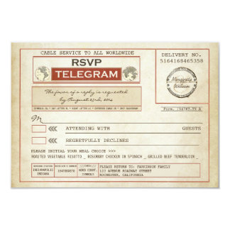 vintage RSVP WEDDING telegrams with meal choice Card