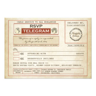 vintage RSVP WEDDING telegrams with meal choice Announcements