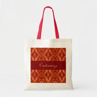 Vintage Ruby Red Damask Designer Tote Bags
