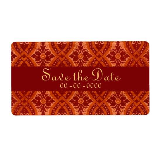 Vintage Ruby Red Damask Designer Label