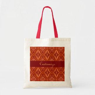 Vintage Ruby Red Damask Designer Canvas Bags