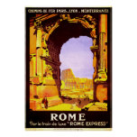 Vintage Ruins of Rome Italy Travel Poster