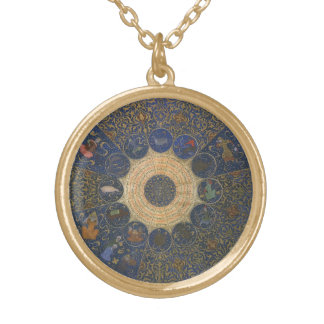 Vintage Rulers Horoscope, Antique Zodiac Gold Plated Necklace