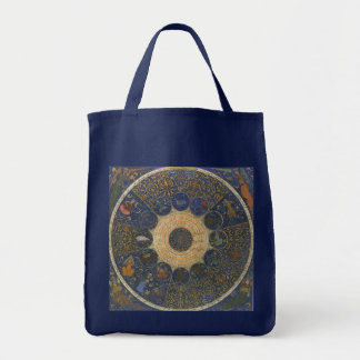 Vintage Rulers Horoscope, Antique Zodiac Grocery Tote Bag