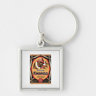 Vintage Rum Liquor Product Label Silver-Colored Square Key Ring