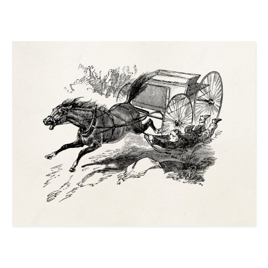 Vintage Runaway Horse with Cart 1800s Retro Horses