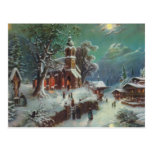 Vintage Rural Christmas Eve Genre Painting Postcard