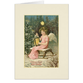 Vintage Russian Angel Christmas Card