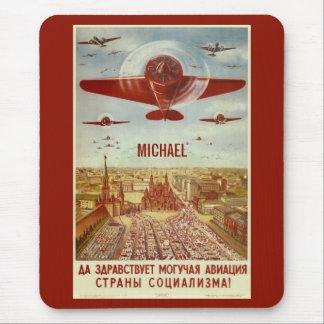 Vintage Russian Aviation custom monogram mousepad