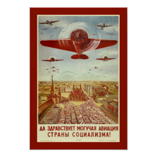 Vintage Russian Aviation Propaganda poster