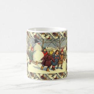 Vintage Russian Christmas, Bringing home a snowman Coffee Mugs