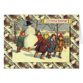 Vintage Russian Christmas, Children and a snowman Card